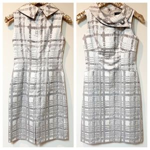 Tahari Silver Plaid Sleeveless Sheath Dress